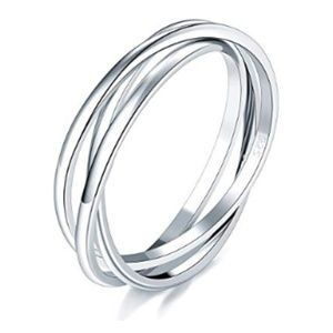 Accessories - Sterling Silver Triple Interlocked Rolling Ring